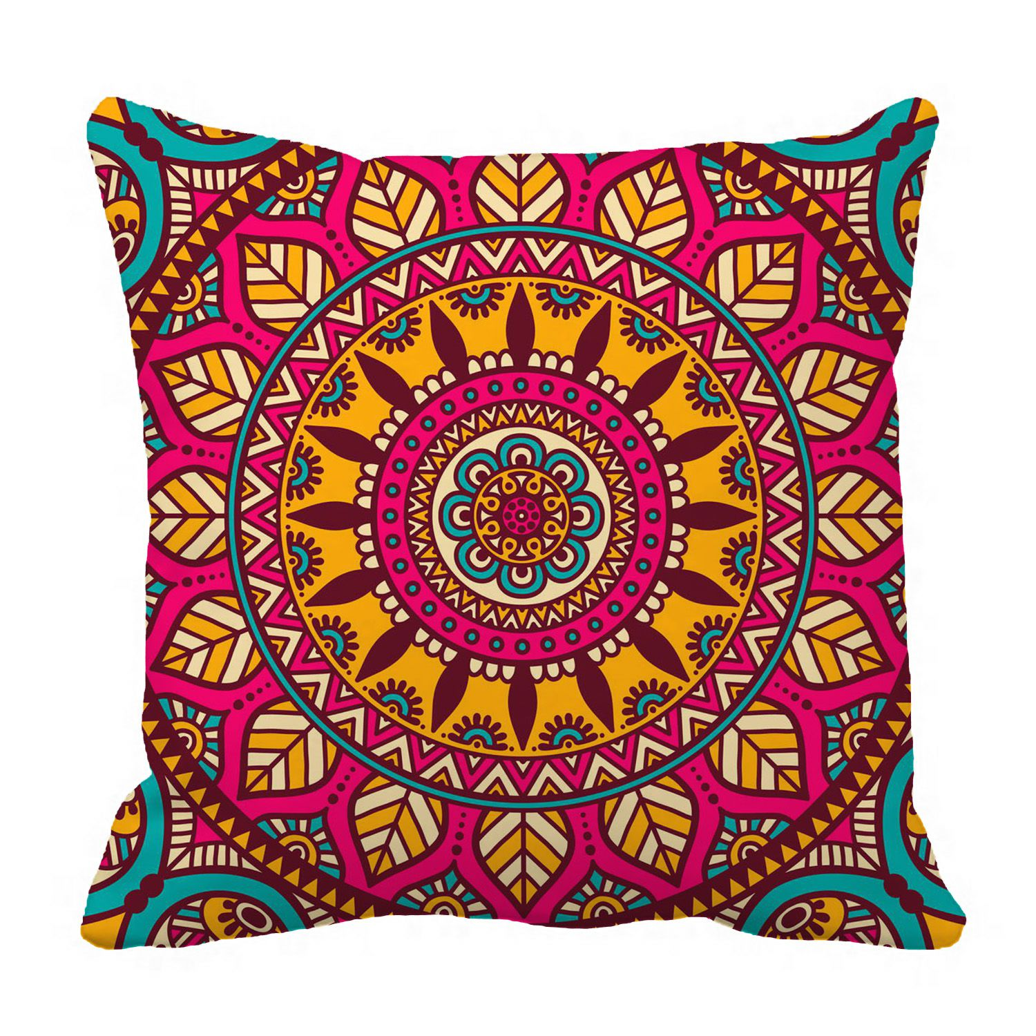 phfzk indian vintage style pillow case floral mandala bohemian pillowcase throw pillow cushion cover two sides size 18x18 inches