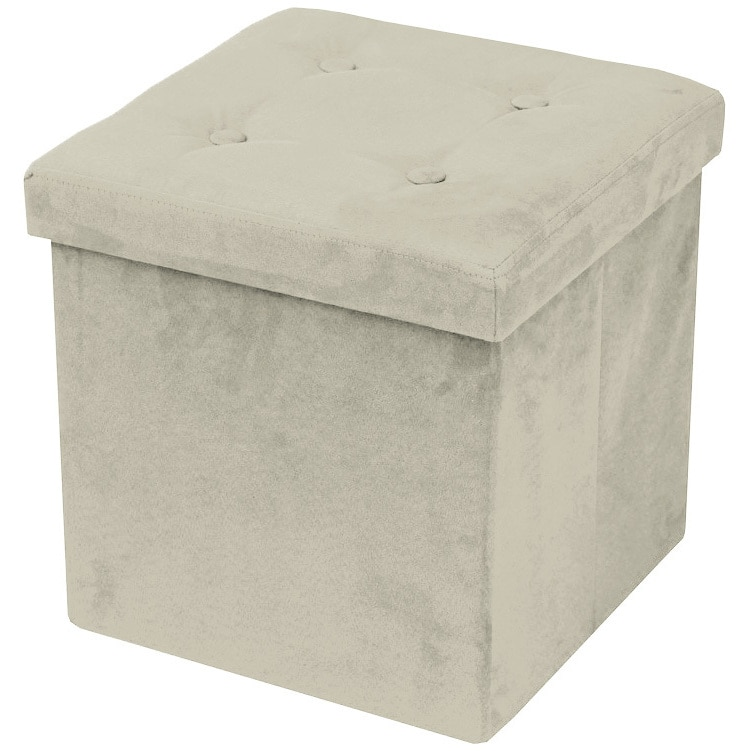 sorbus faux suede storage ottoman cube foldable collapsible with button lid cover