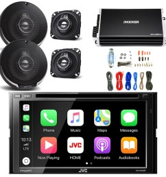 jvc 6 8 inch lcd touchscreen double din bluetooth car stereo receiver with kenwood 4 inch 3way performance series speakers 2 pairs kicker power amplifier  [ 1600 x 1600 Pixel ]