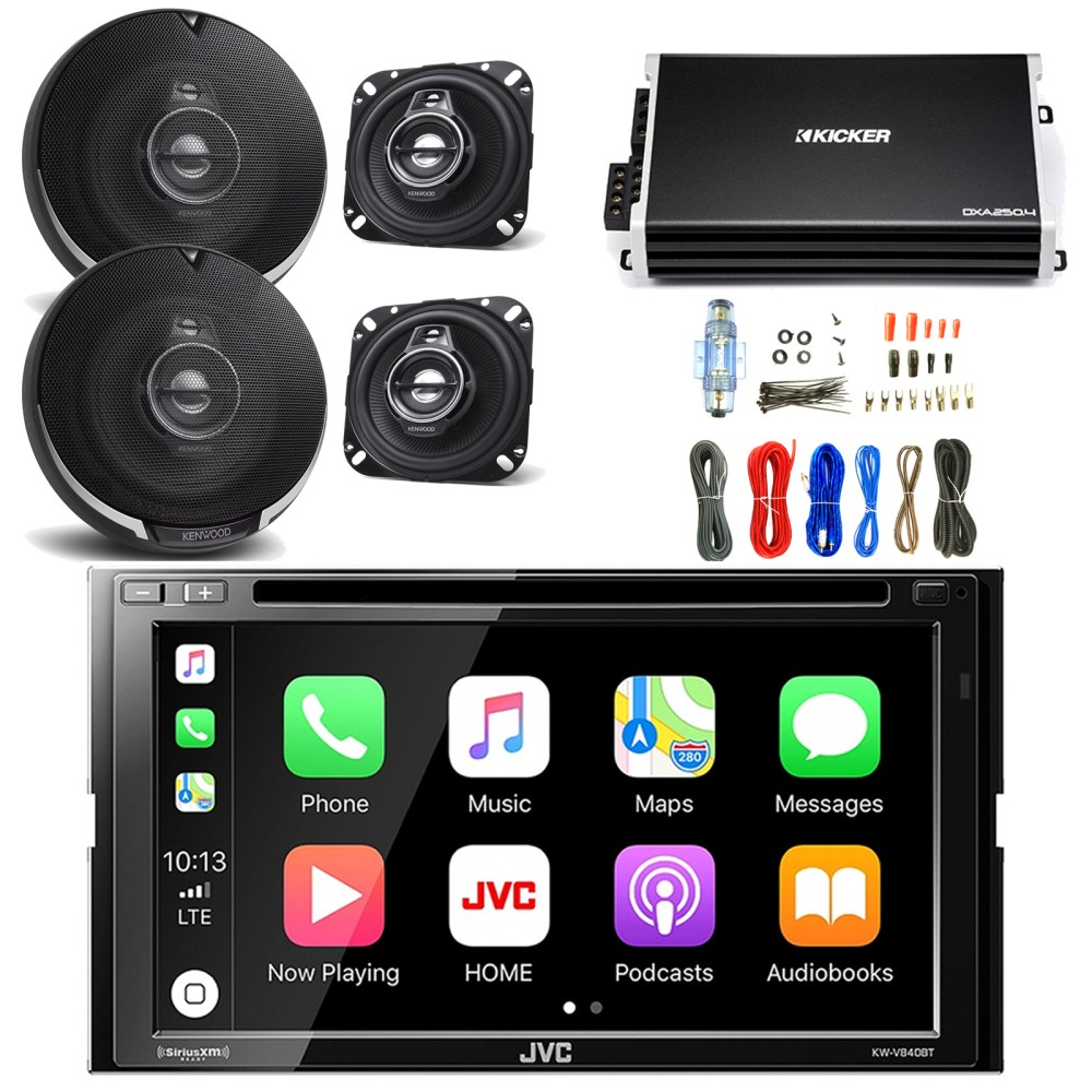 medium resolution of jvc 6 8 inch lcd touchscreen double din bluetooth car stereo receiver with kenwood 4 inch 3way performance series speakers 2 pairs kicker power amplifier