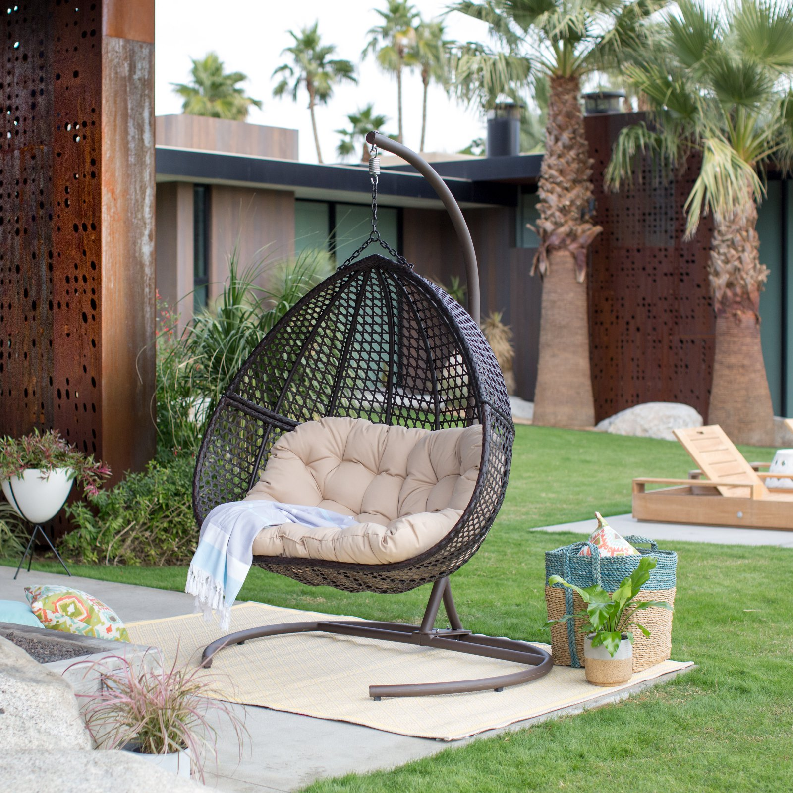 Double Egg Chair Details About Giant Hanging Double Egg Chair W Stand And Pad Wicker Hammock Outdoor Swing Seat