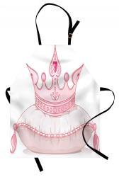 pink cartoon apron crown bib fairy princess queen girlish unisex baking pillow adjustable tail neck cooking fantasy kitchen cute ambesonne