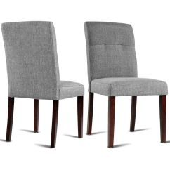 Upholstered Dining Chairs With Oak Legs Swivel Chair Konga Gymax Set Of 2 Parson Linen Fabric
