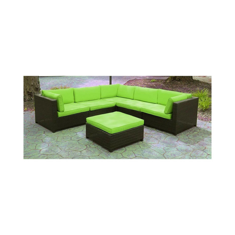 Black Resin Wicker Outdoor Furniture Sectional Sofa Set Lime Green Cushions Walmart Com Walmart Com