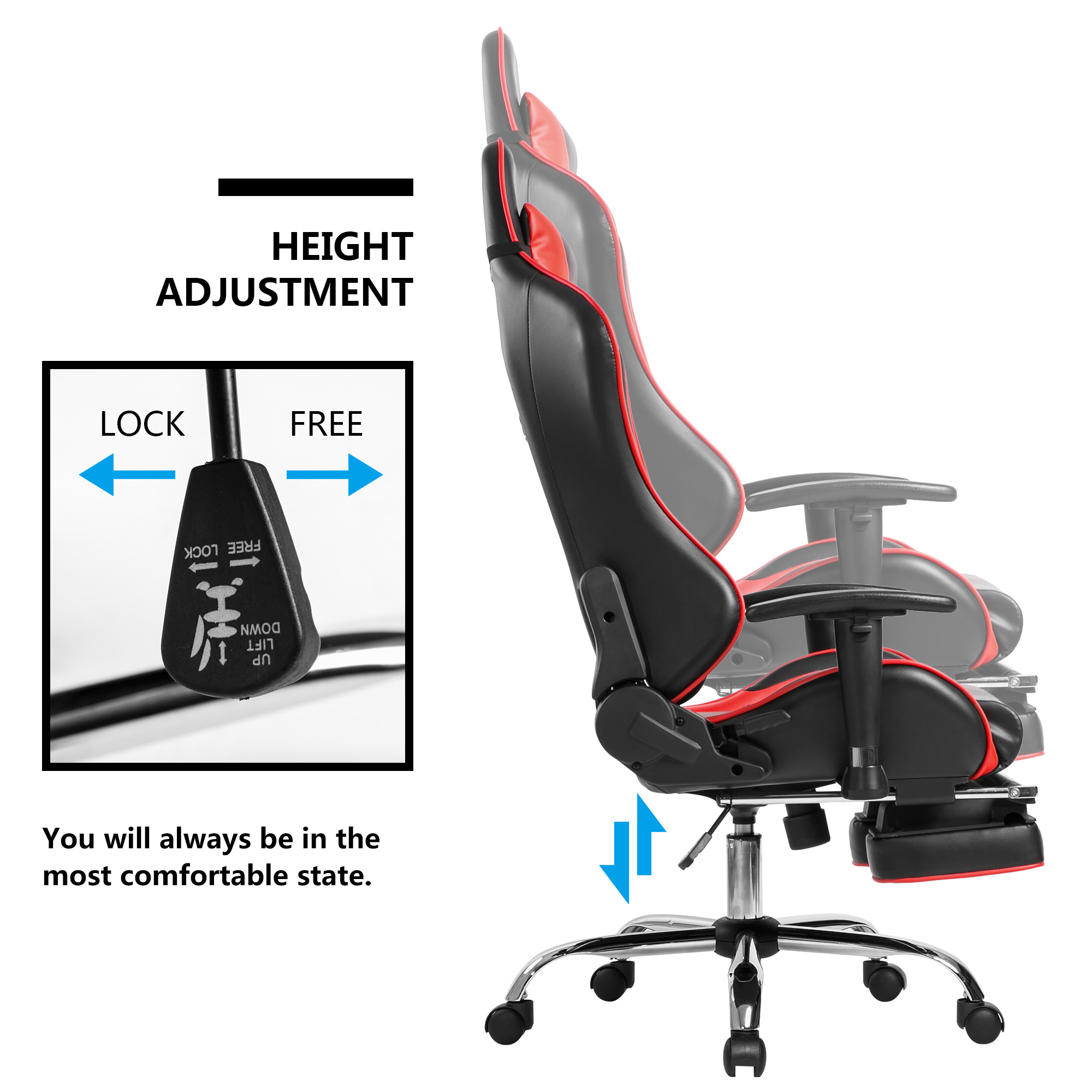 Will Chair Merax High Back Ergonomic Racing Gaming Office Chair Red