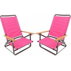 Pink Beach Chair Leather Dining Chairs Target Deluxe 3 Position Lightweight Camping Hiking With Wooden Armrest Set Of 2 Walmart Com