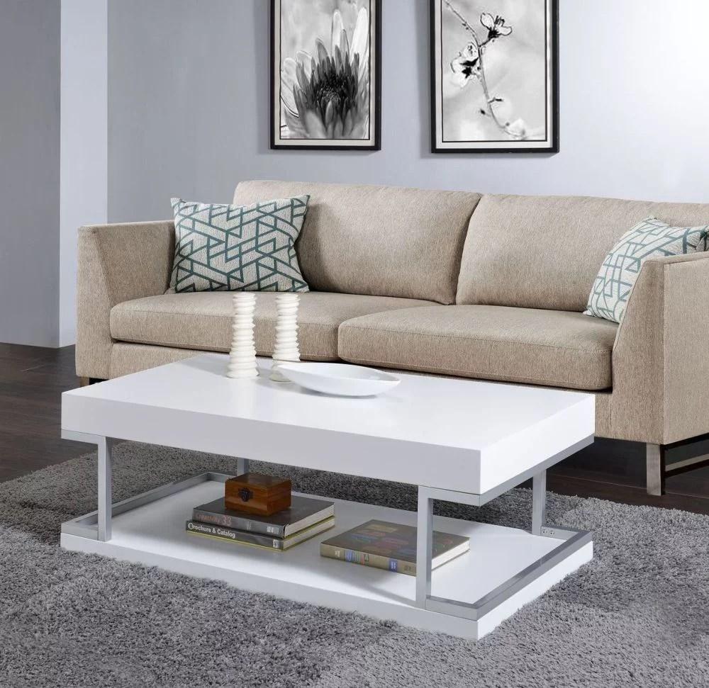 aspers coffee table white high gloss chrome 83125