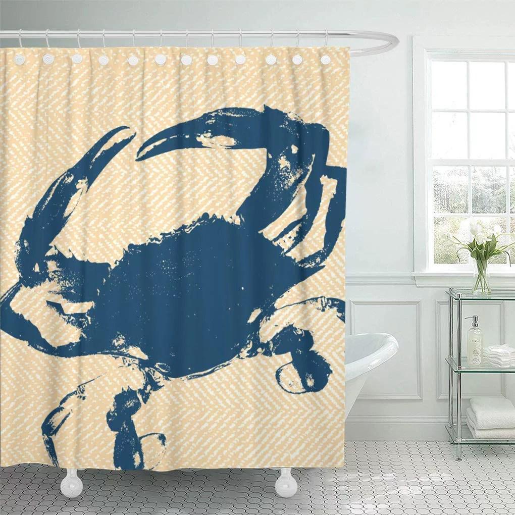 cynlon modern coastal yellow herringbone blue nautical elegant crab bathroom decor bath shower curtain 66x72 inch walmart com