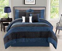 WPM 7 Pieces Complete Bedding Ensemble Black Navy Blue ...