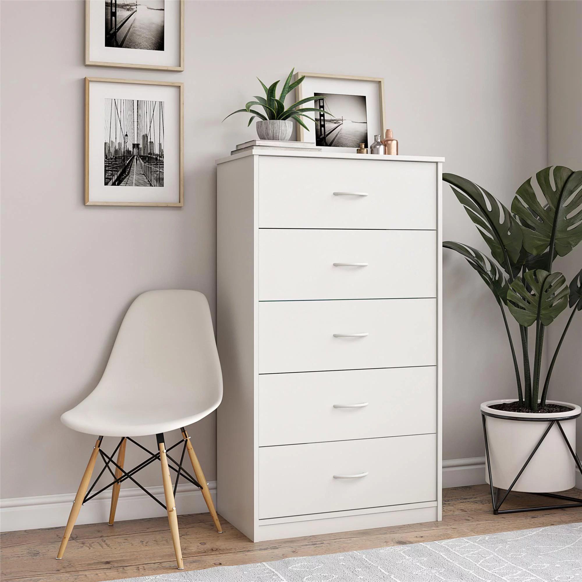 mainstays classic 5 drawer dresser white finish walmart com