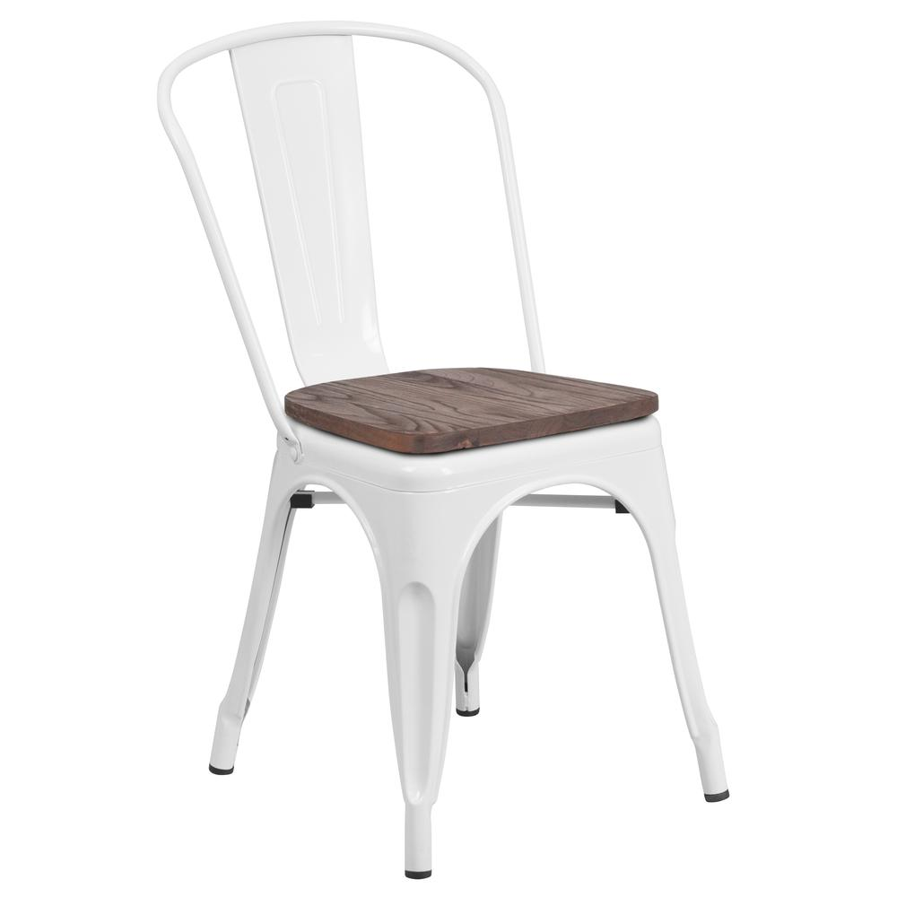 White Metal Stackable Chair with Wood Seat  Walmartcom