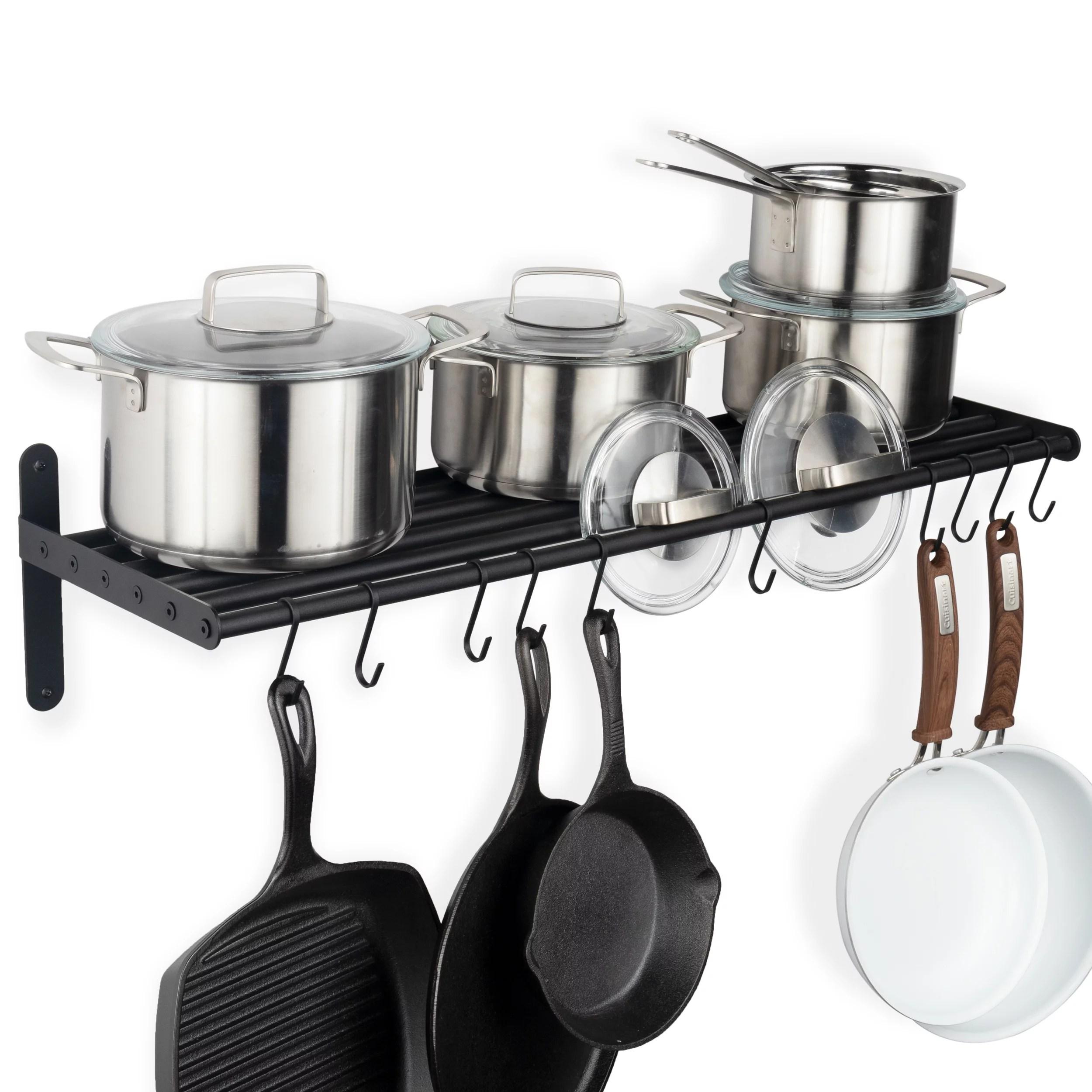 wallniture lyon wall mounted shelf with 10 s hooks for kitchen utensils metal frosty black