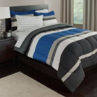 Blue, White & Gray Stripes Boys Teen Twin Comforter Set (5
