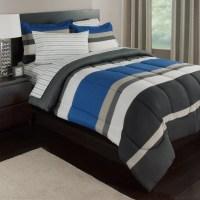 Blue, White & Gray Stripes Boys Teen Twin Comforter Set (5 ...