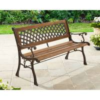 Outdoor Patio Furniture 2 Person Loveseat Cast Iron Wooden ...