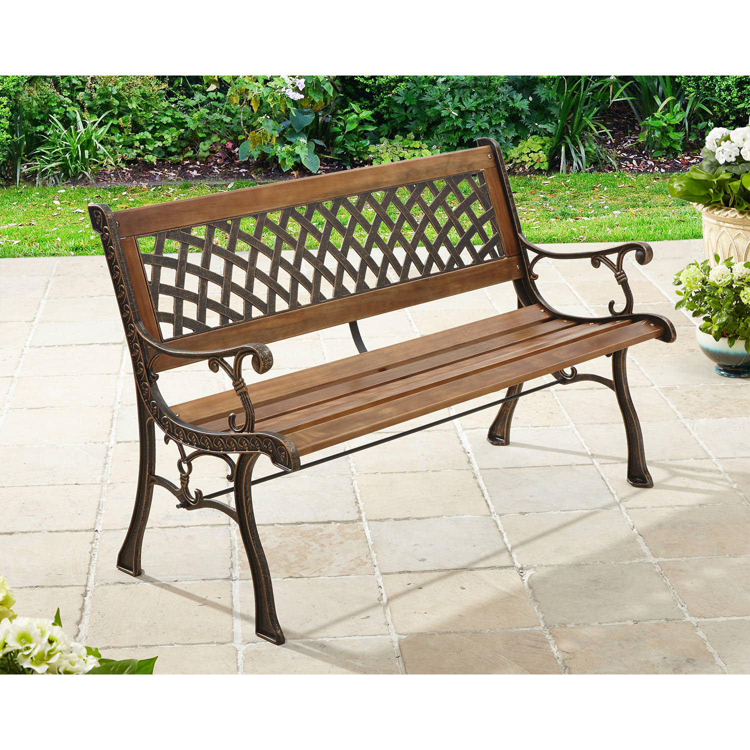 better homes and gardens lattice outdoor bench