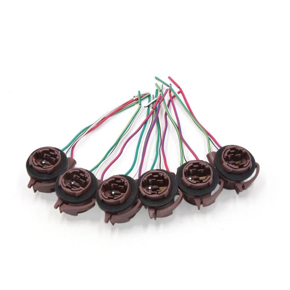 medium resolution of 6pcs 3157 4157 brake light lamp bulb wiring harness socket connector for car walmart com