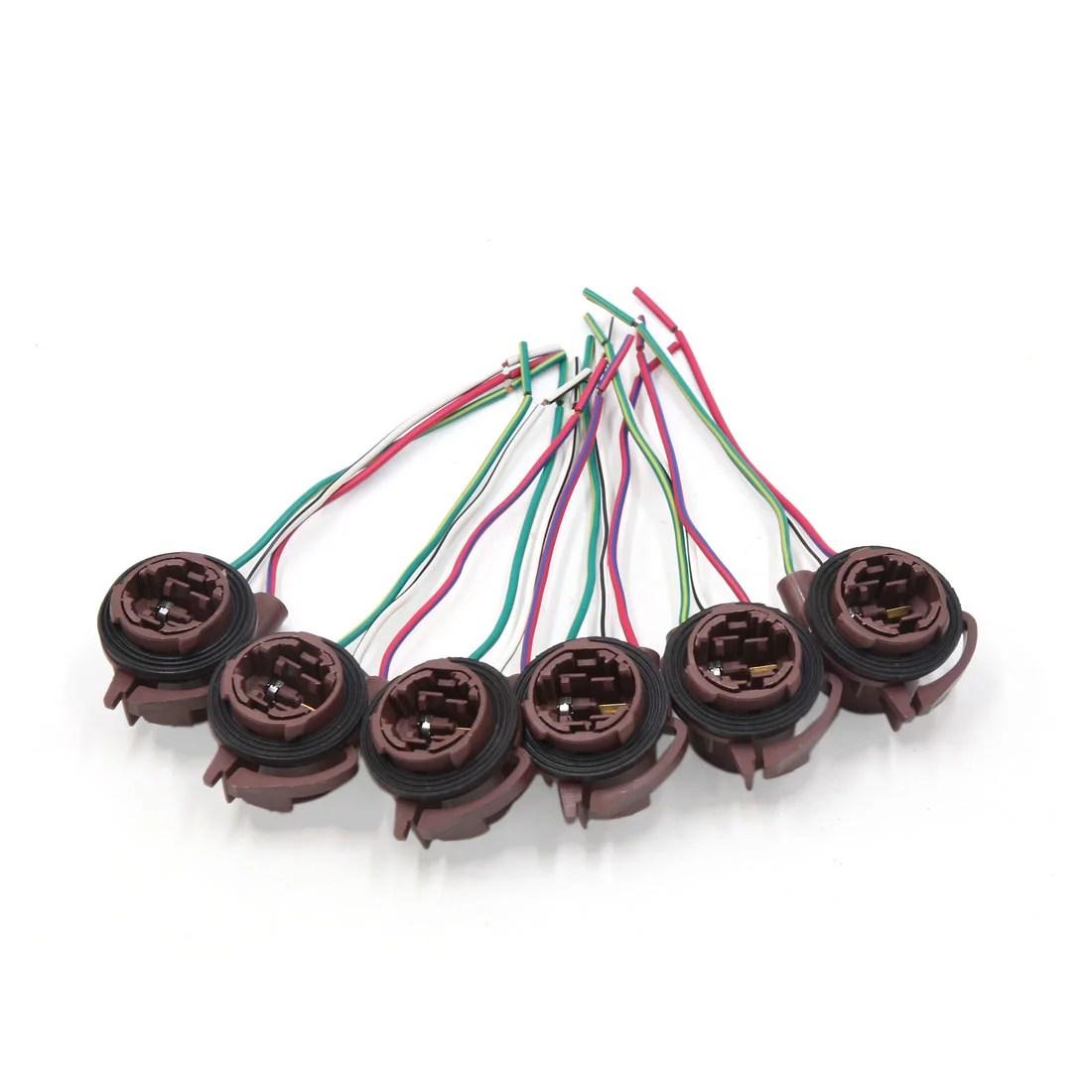 hight resolution of 6pcs 3157 4157 brake light lamp bulb wiring harness socket connector for car walmart com