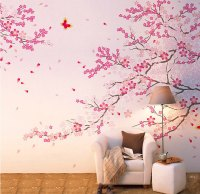 Misshow Pink Cherry Blossom Wall Decal Flower Wall Sticker ...