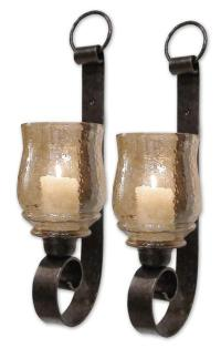 Pack of 2 Antiqued Bronze Amber Glass Candle Holder Wall ...