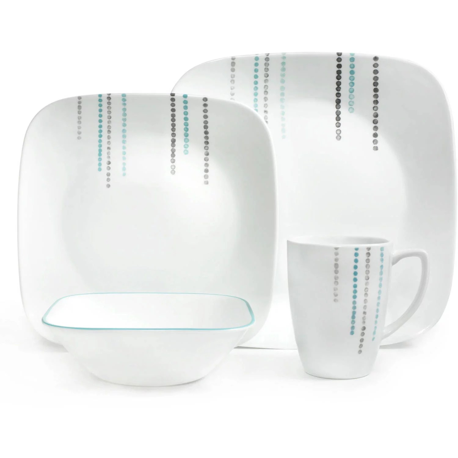 Corelle Square 16 Pc Dinnerware Set Rain Drops Square