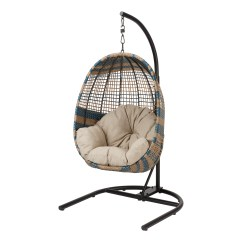 Hanging Chair Cheap Beach Rentals Outdoor Chairs Walmart Com Product Image Better Homes Gardens Two Tone Patio Wicker With Stand And Beige Cushion