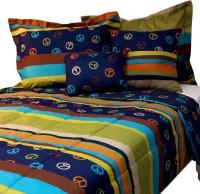 Peace Sign Bed Comforter Set Hippie Stripes Bedding ...