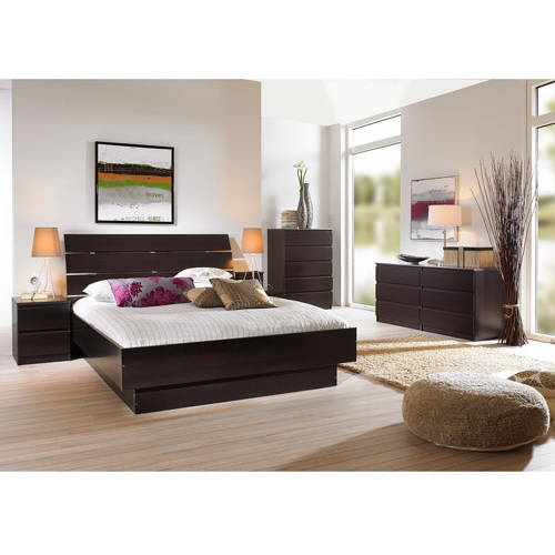 Laguna 3Piece Full Bed Night Stand and 5Drawer Chest Set Lacquered Espresso  Walmartcom