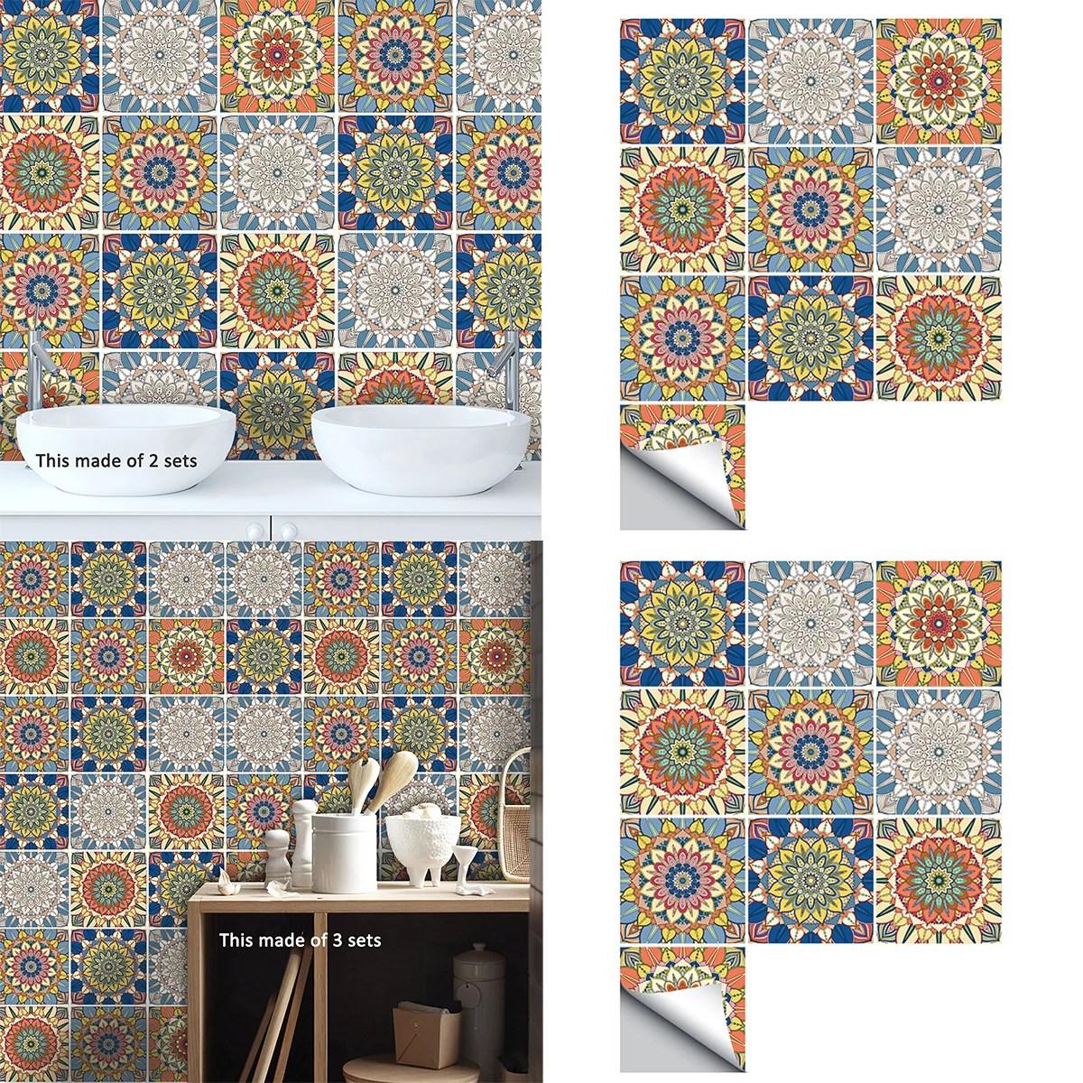 goory tile decals set of 10 self adhesive peel and stick tile stickers for kitchen backsplash bathroom vinyl waterproof