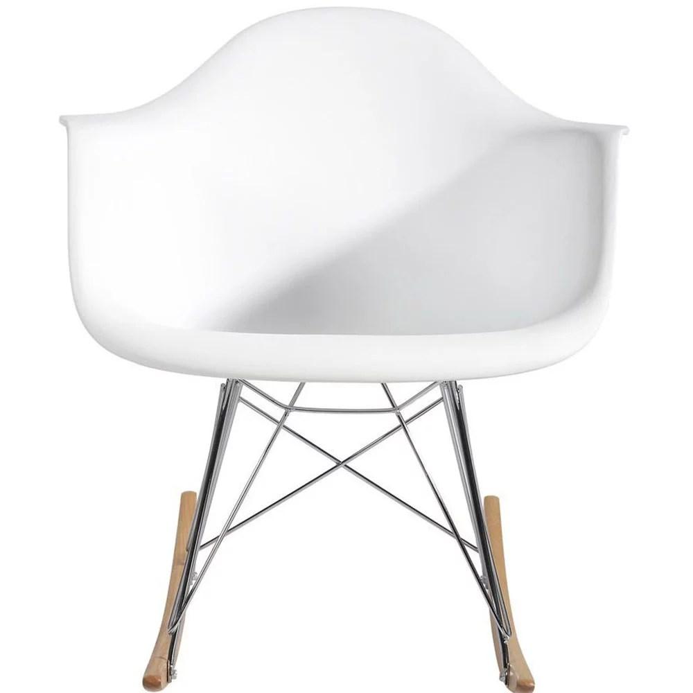 cheap modern rocking chair white bar chairs 2xhome mid century molded shell designer plastic armchair arm patio lounge garden nursery living room rocker replica