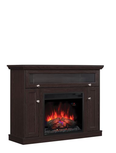 Windsor TV Stand with 23 Electric Fireplace Oak Espresso