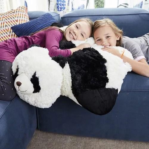pillow pets jumboz comfy panda over sized plush floor pillow