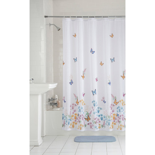 Mainstays Butterfly Fabric Shower Curtain  Walmartcom