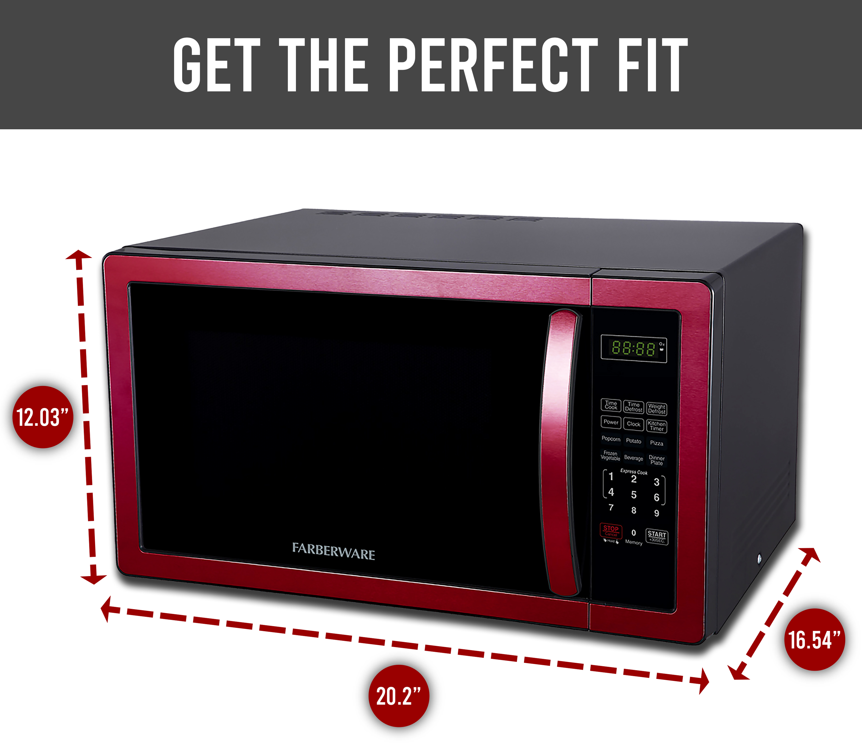 farberware classic 1 1 cu ft 1000 watt microwave oven metallic red fmo11ahtbkn