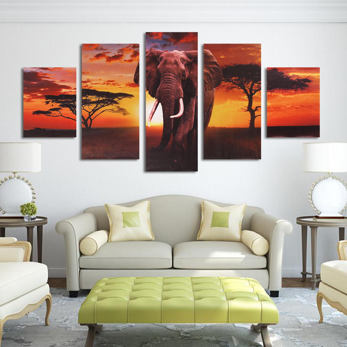 On Clearance 5in1 Modern Unframed Abstract Elephant Canvas