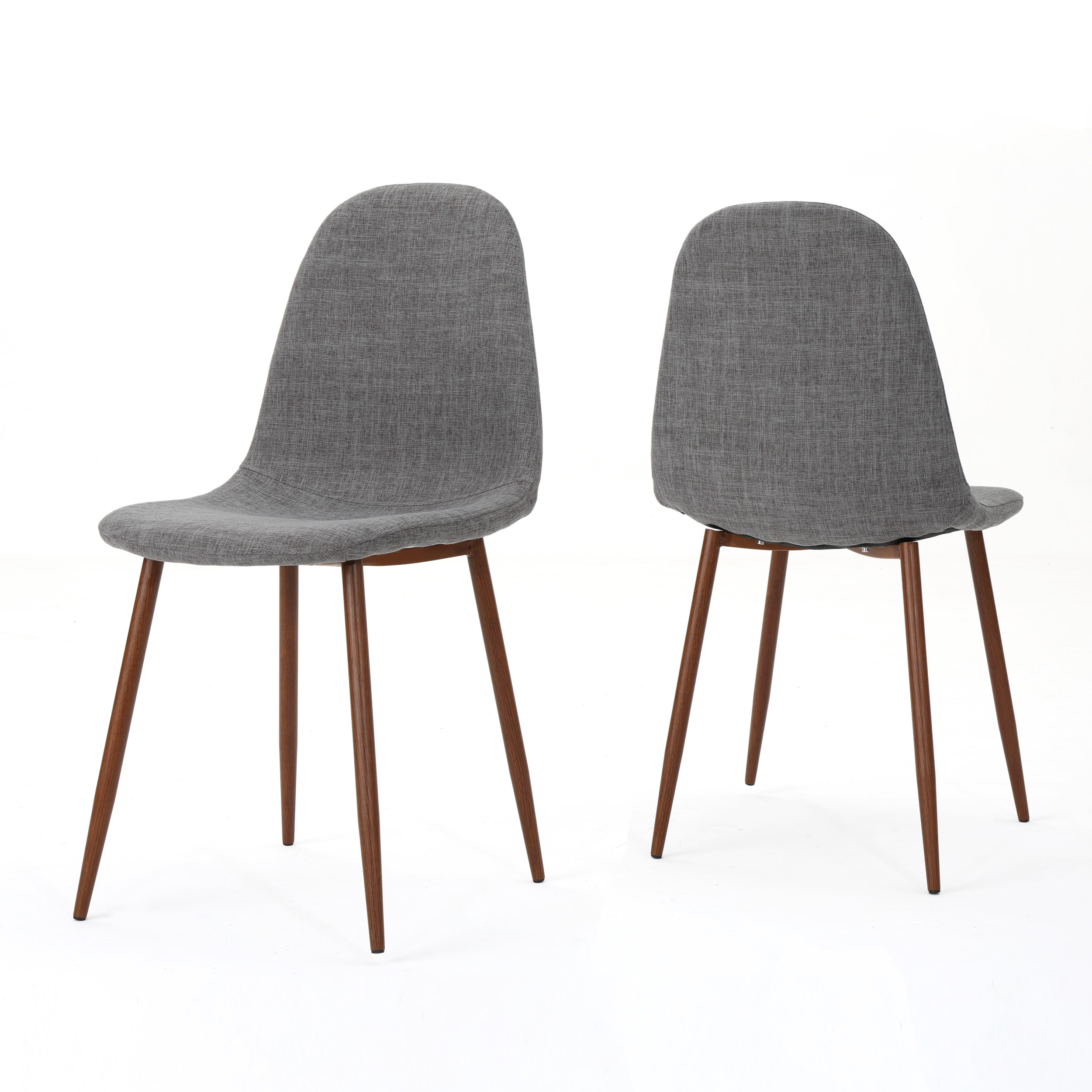 dark brown wooden dining chairs tables with resta mid century modern fabric wood finished metal legs set of 2 light grey walmart com