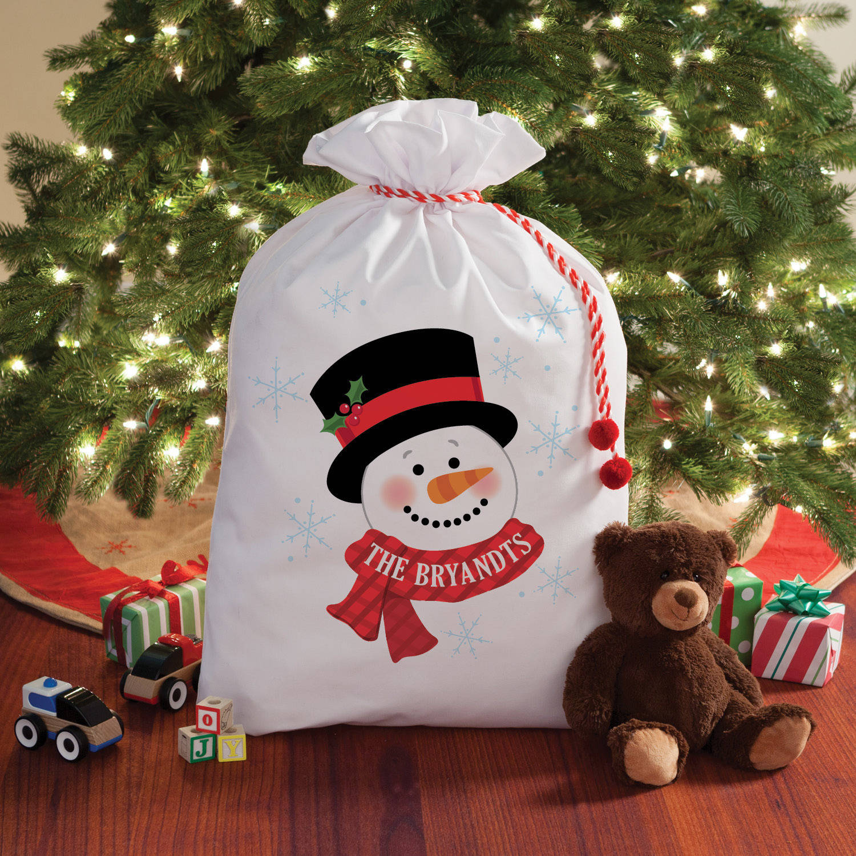personalized snowman santa sack