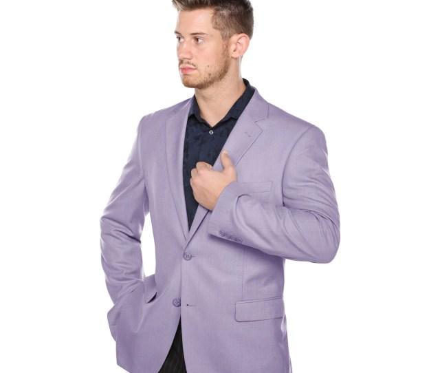 Verno Mens Lavender Classic Fit Pic Stitch Notch Lapel Fashion Blazer