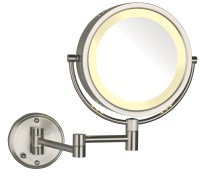 Modern Nickel Wall Mounted Lighted Make Up Mirror Hard ...