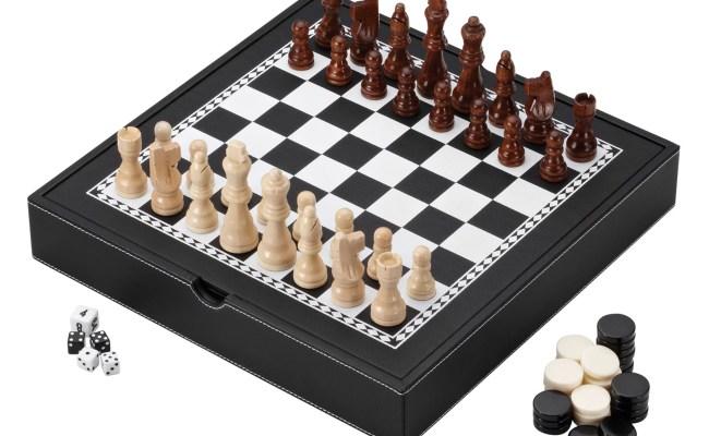 Mainstreet Classics Chess Checkers Backgammon With