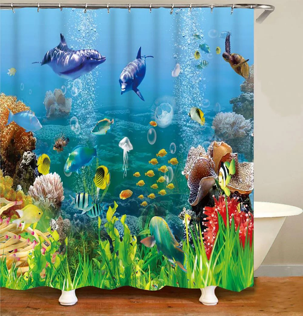 happyline ocean curtains clear underwater sea life animal world corals tropical fishes and stingray living room bedroom cloth fabric shower