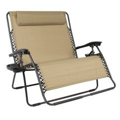 Patio Folding Chair White Counter Height Chairs Best Choice Products 2 Person Double Wide Zero Gravity Lounger W Cup Holders Beige Walmart Com