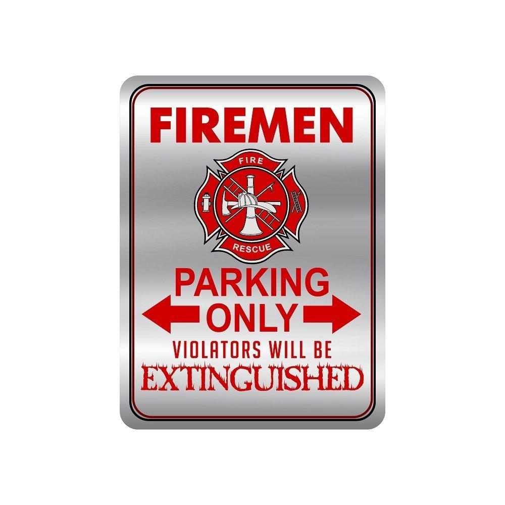 kitchen signs for home small round table and chairs firefighter metal your house novelty 12 x 9 firemen only