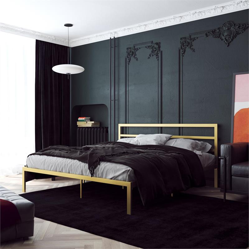 signature sleep laurier platform metal bed with king headboard in gold
