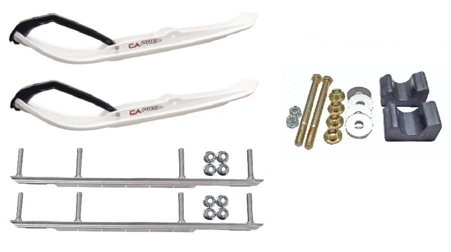 C&A Pro White MTX Snowmobile Skis w/ 9