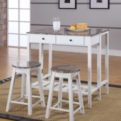Kitchen Dinette Wrought Iron Chairs Rave 3 Piece White Marble Top Wood Contemporary Breakfast Pub Set Folding Drop Down Table 2 Stools Storage Drawers Walmart Com