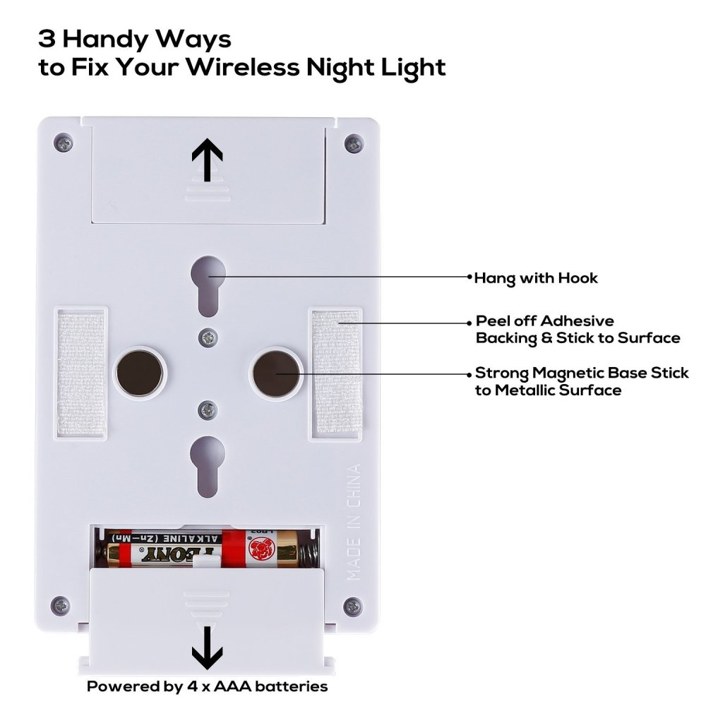 medium resolution of led night light cordless 2 cob led light switch under cabinet shelf closet garage kitchen stairwell and more pack of 2 walmart com
