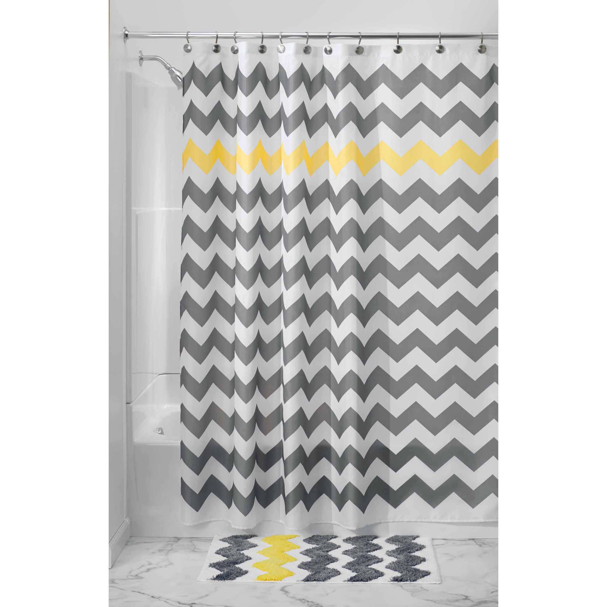 interdesign chevron fabric shower curtain standard 72 x 72 gray yellow
