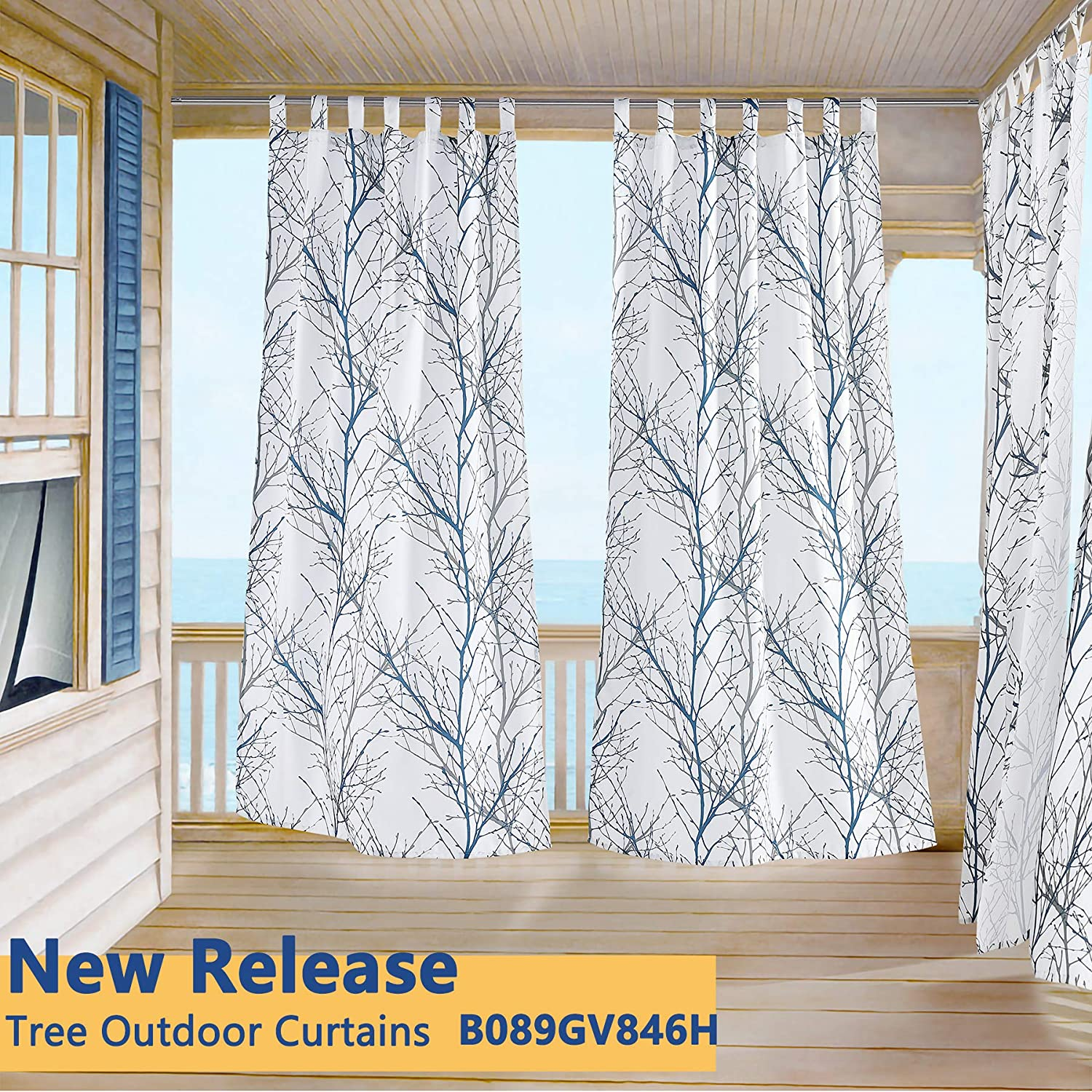 fmfunctex blue white curtains 84 for living room grey tree branches print curtain set linen textured semi sheer window drapes for bedroom grommet