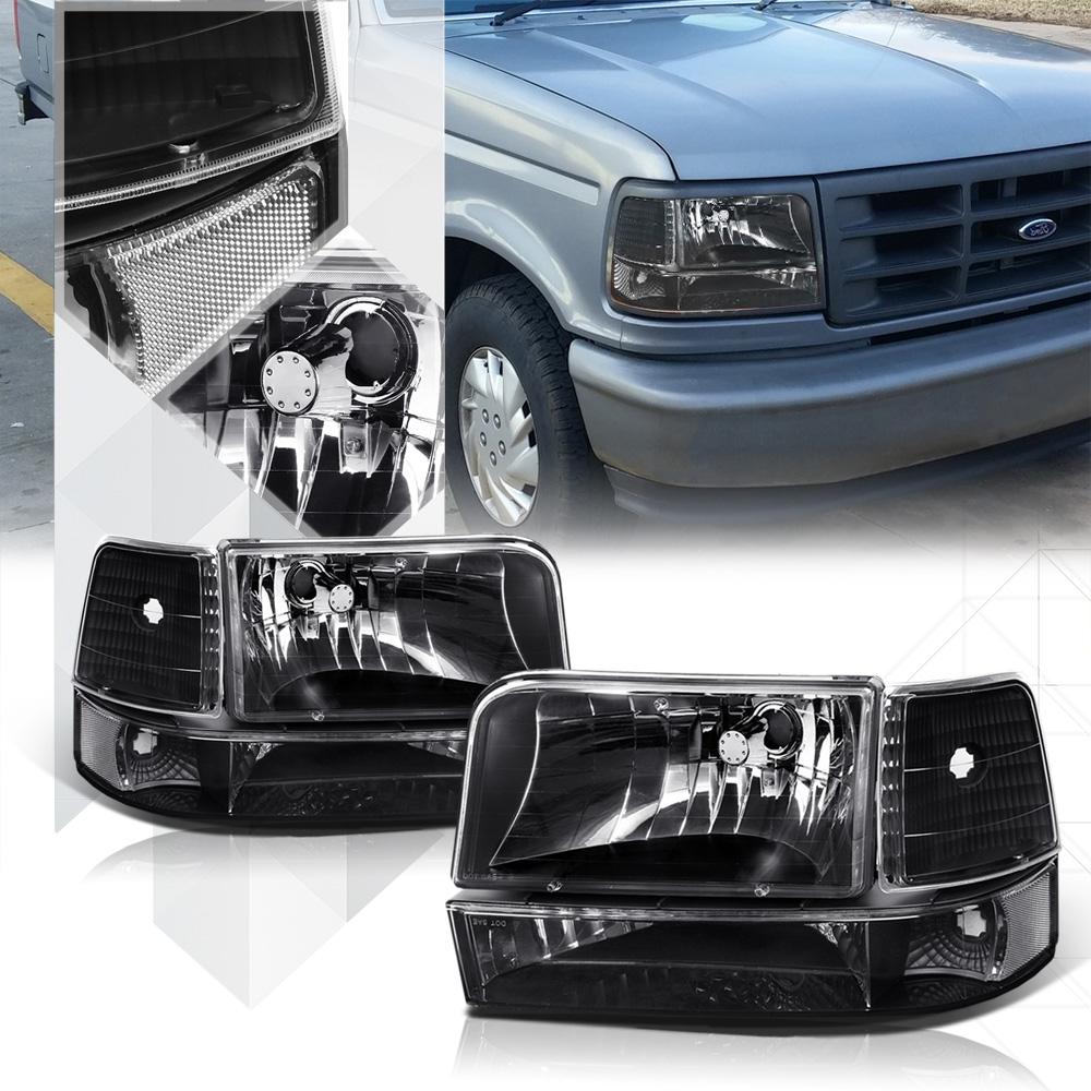 hight resolution of black housing headlight clear corner reflector for 92 96 f150 f250 f350 bronco 93 94 95 walmart com